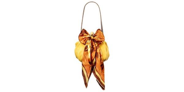 Dámská žlutá kožená kabelka s šátkem Liedownithinkiloveyou