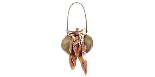 Dámská hnědo-béžová kožená kabelka s šátkem Liedownithinkiloveyou