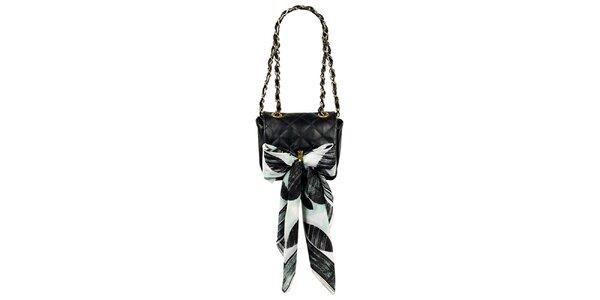 Dámská malá černá prošívaná kabelka s šátkem Liedownithinkiloveyou