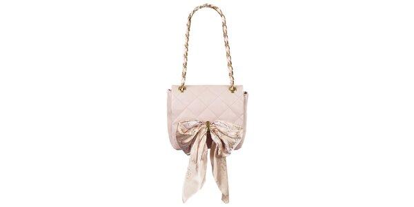 Dámská pudrově růžová prošívaná kabelka s šátkem Liedownithinkiloveyou