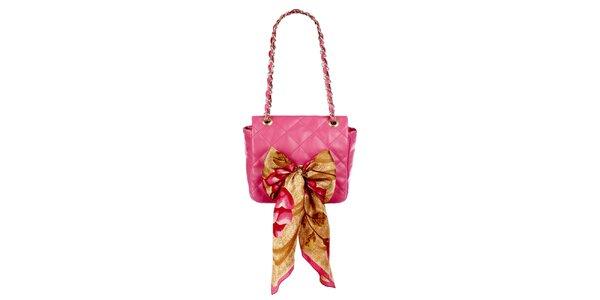 Dámská růžová prošívaná kabelka s šátkem Liedownithinkiloveyou