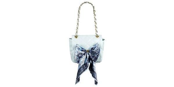 Dámská světle modrá prošívaná kabelka s šátkem Liedownithinkiloveyou