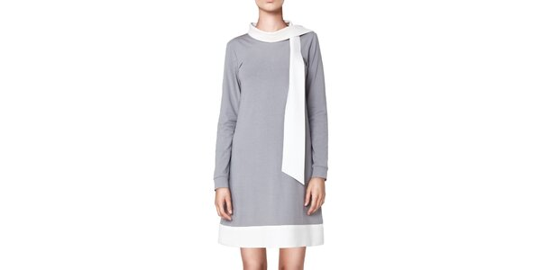 Dámské šedé šaty s bílými lemy Yuliya Babich