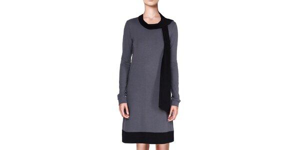 Dámské šedé šaty s černými lemy Yuliya Babich