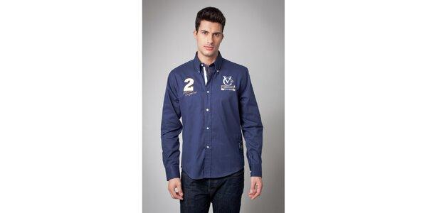 Pánská tmavě modrá košile s nášivkami Valecuatro
