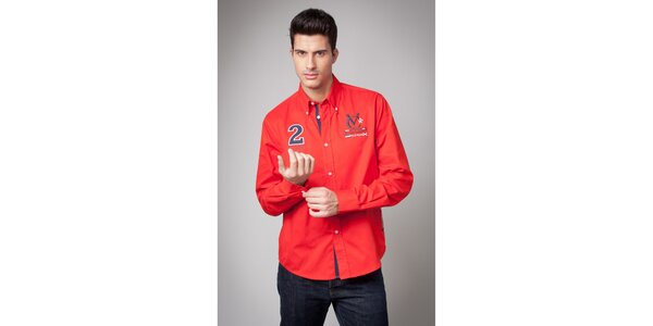Pánská červená košile s nášivkami Valecuatro