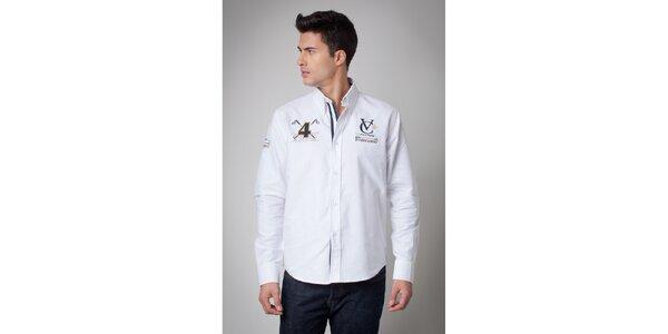 Pánská bílá košile s nášivkami Valecuatro