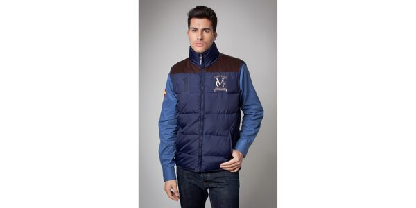 Pánská modrá prošívaná vesta Valecuatro