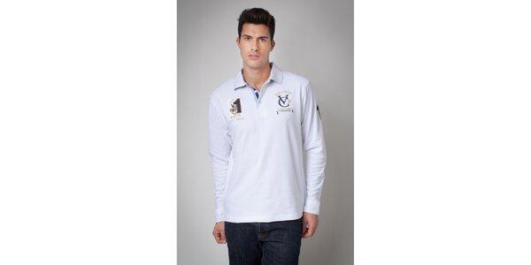 Pánské bílé polo tričko s dlouhým rukávem Valecuatro