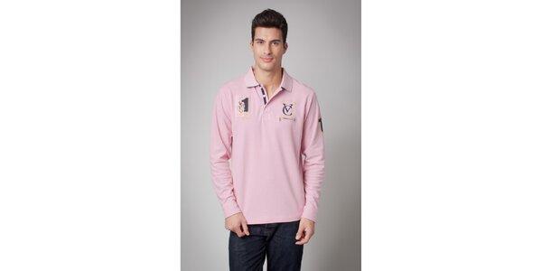 Pánské růžové polo tričko s dlouhým rukávem Valecuatro