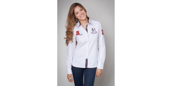 Dámská bílá košile s nášivkami Valecuatro