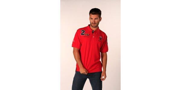Pánské ohnivě rudé tričko Valecuatro s nášivkami