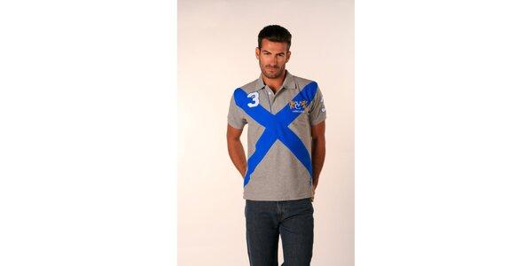 Pánské šedé polo tričko Valecuatro s modrým X