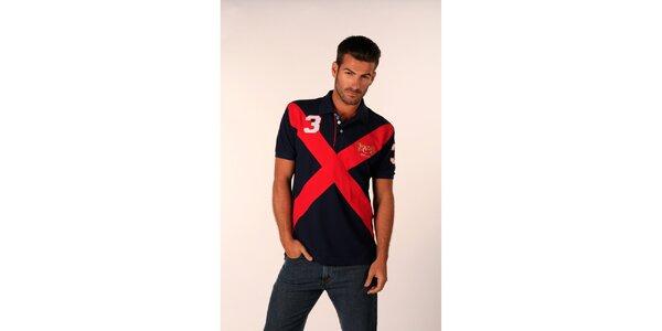 Pánské temně modré polo tričko Valecuatro s rudým X