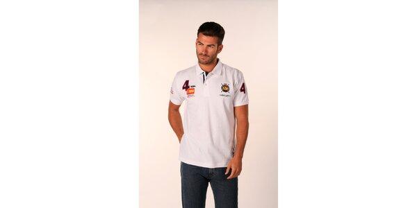 Pánské bílé polo tričko Valecuatro s číselnými nášivkami