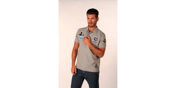 Pánské šedé polo tričko Valecuatro s barevnými nášivkami