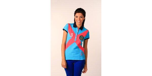 Dámské blankytně modré polo tričko Valecuatro s barevným X