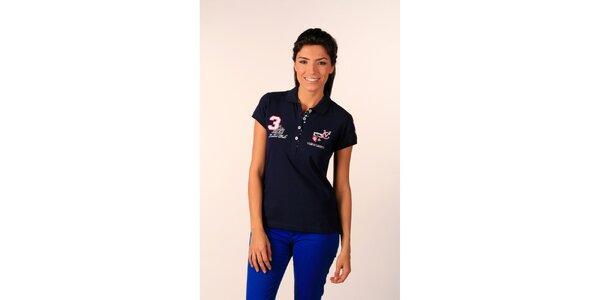 Dámské tmavě modré polo tričko Valecuatro s barevnými nášivkami