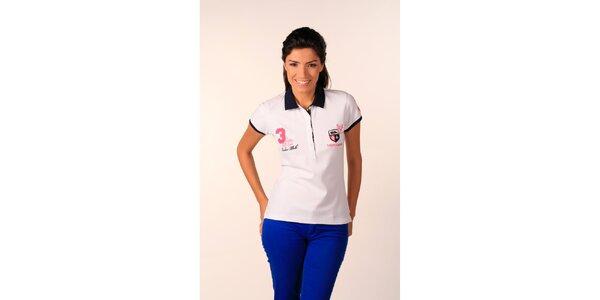 Dámské bílé polo tričko Valecuatro s barevnými nášivkami