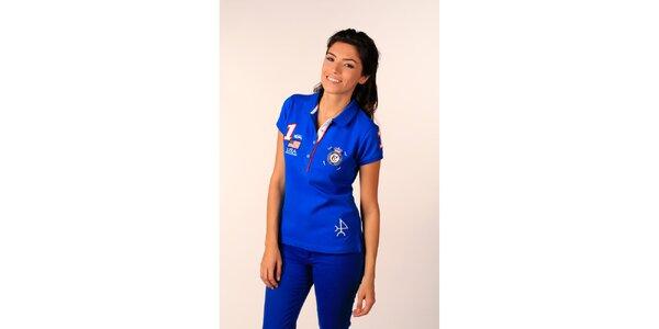 Dámské sytě modré polo tričko Valecuatro s barevnými nášivkami