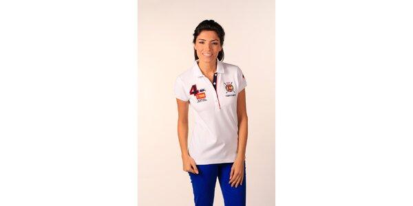 Dámské sněhobílé polo tričko Valecuatro s barevnými nášivkami