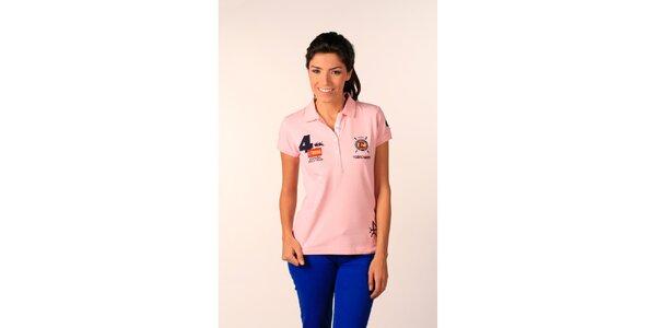 Dámské broskvové polo tričko Valecuatro s barevnými nášivkami
