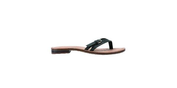Dámské černé kožené pantofle U.S. Polo