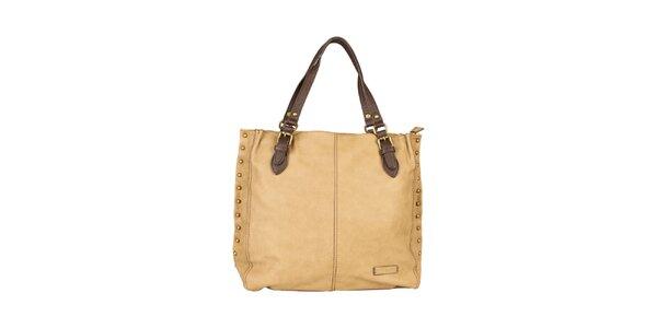 Dámská béžová kabelka s hnědými uchy Sisley