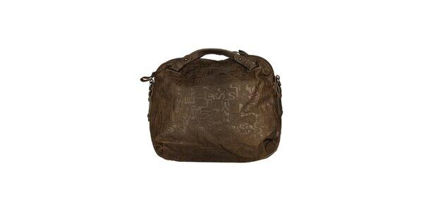 Dámská hnědá kabelka s reliéfem Sisley