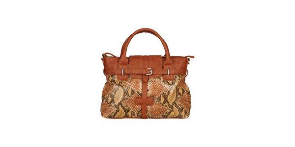 Dámská karamelově hnědá kabelka s hadím vzorem Sisley