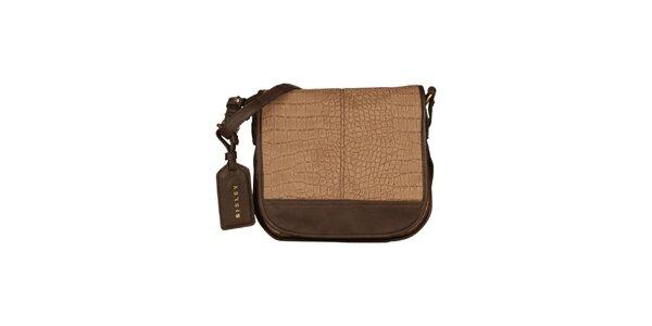 Dámská hnědá messenger kabelka Sisley