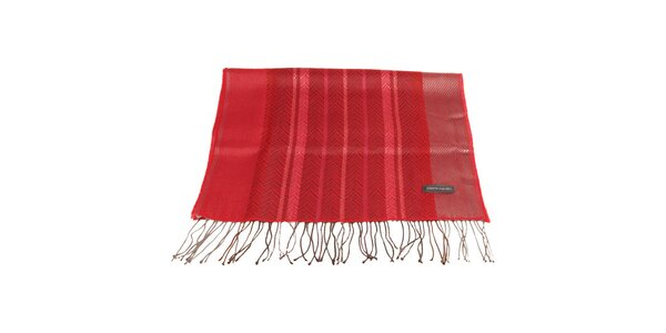 Dámská červená šála s vzorkem Pierre Cardin