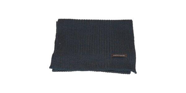 Denimově modrá pletená šála Pierre Cardin