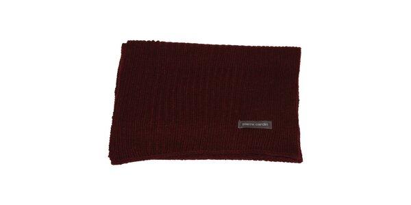Vínově červená pletená šála Pierre Cardin