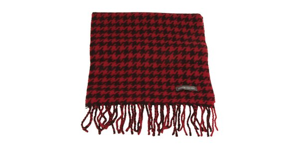 Červeno-černá šála se vzorem kohoutí stopy Pierre Cardin