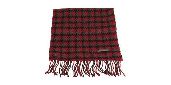 Červeno-černo-šedá šála se vzorem kohoutí stopy Pierre Cardin