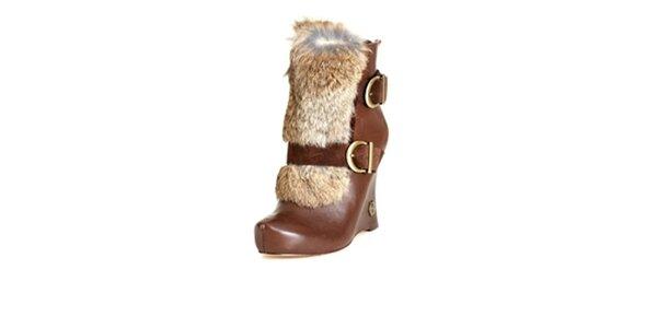 Dámské hnědé kotníčkové boty House of Harlow s králičí kožešinkou