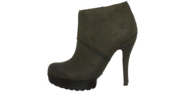 Dámské tmavě zelené boty na podpatku Modern Vintage