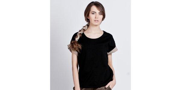 Dámský černý top s ohrnovacími rukávy Lanti