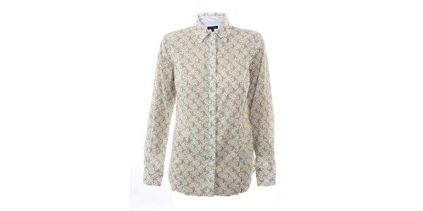 Dámská béžovo-bílá košile s jemným potiskem Tommy Hilfiger