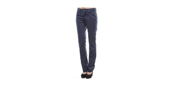 Dámské tmavě modré rovné chino kalhoty Tommy Hilfiger