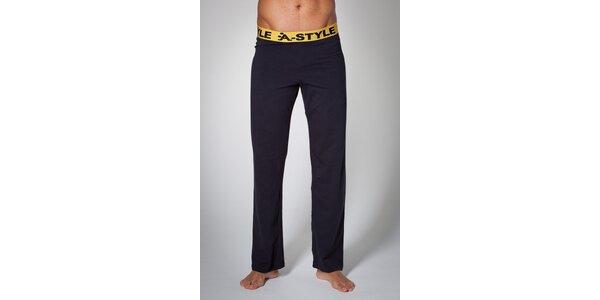 Pánské černé domácí kalhoty A-Style s potiskem