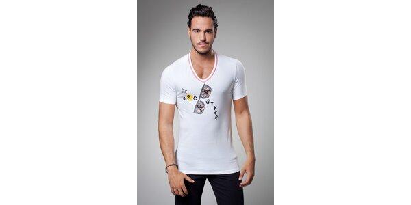 Pánské bílé tričko A-Style s potiskem