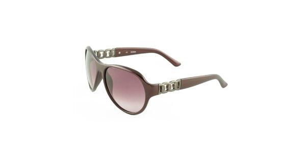Dámské hnědé sluneční brýle s vínovými skly Guess