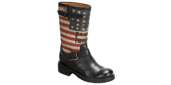 Dámské černé kožené kozačky s americkou vlajkou Fuck Me I Am Famous by David…