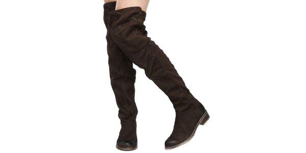 Dámské hnědé kozačky nad kolena Elite Shoes