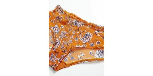Dámské oranžové kalhotky s kvítky Hoff by Hoff