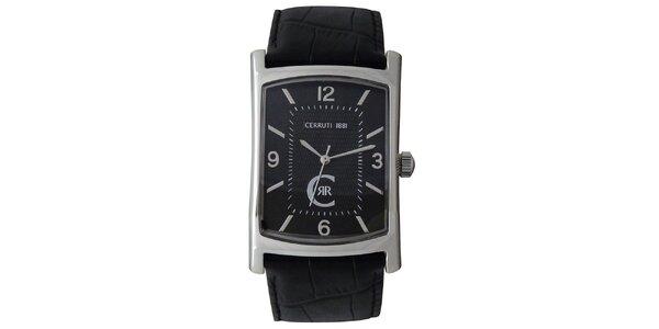 Pánské analogové hodinky Cerruti 1881 s černým koženým řemínkem