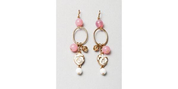 Dámské zlaté náušnice s růžovými korálky Pietro Filipi