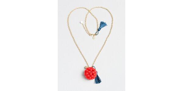 Dámský zlatý náhrdelník s červeným přívěskem Pietro Filipi
